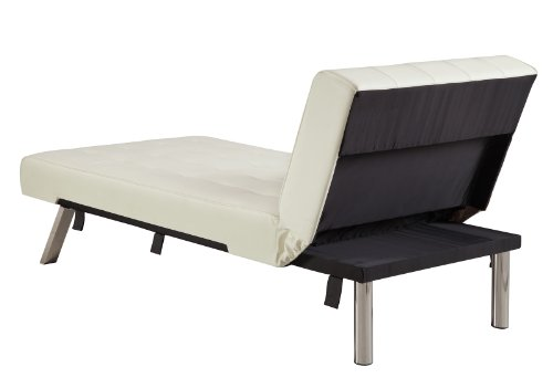 DHP Emily Linen Chaise Lounger, Stylish Design with Chrome Legs, Vanilla White