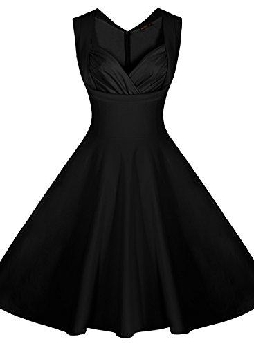 Miusol?Women's Cut Out V-Neck Vintage Casual 1950'S Retro Bridesmaid Dress (Small, Black)