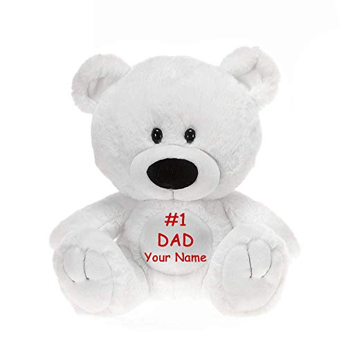 Fiesta Toys Personalized #1 DAD Father's Day Sitting White Teddy Bear Plush Stuffed Animal Toy for Boys or Girls with Custom Name - 9.5 Inches