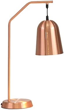 Benjara 23 Inch Drop Shade Metal Table Lamp, Brown