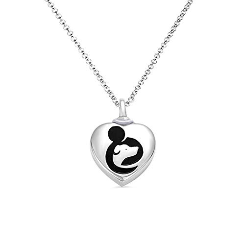 (Getname Necklace Custom Heart Hug Dog Urn Necklace for Ashes 925 Sterling Silver Personalized Engraved Urn Necklace Memorial Gifts)