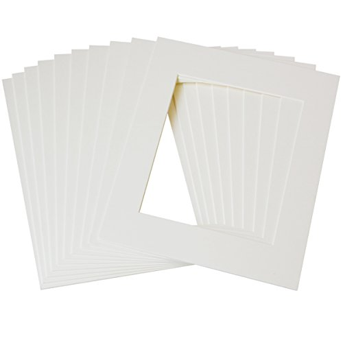 Betus 11x14 White Picture Mats, White Core Bevel Cut for 8x10 Pictures - Pack of 10 ()