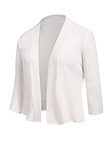 Women's Bolero Knit Tops Solid Open Front 3/4 Sleeve Cropped Cardigan White (Shrug Sweater Top)