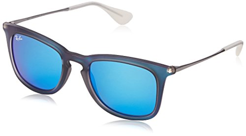 Ray-Ban INJECTED MAN SUNGLASS - SHOT BLUE RUBBER Frame LIGHT GREEN MIRROR BLUE Lenses 50mm - Blue Ban Lens Ray Mirror