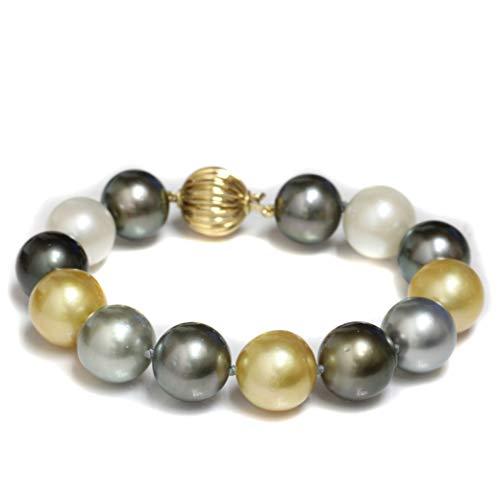 14k Gold Tahitian & South Sea Pearl Bracelet 14-13 MM Multicolor - 8