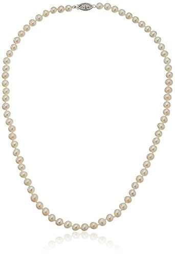 (Sterling Silver White Freshwater Cultured A Quality Pearl Necklace (5.5-6mm), 18