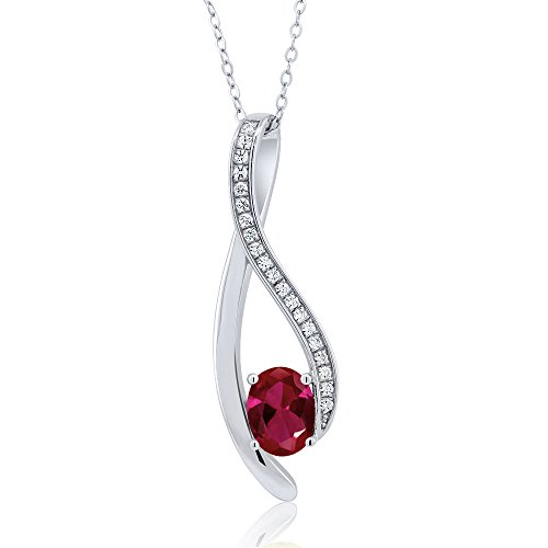 Gem Stone King 1.5 Inch Oval Shaped Gemstone Infinity Pendant With White Zirconia 18 Inch Chain