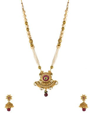 Colors Voylla Navrang Intricate Pattern Pendant Set With Matching Earrings