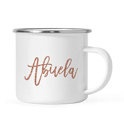 - Andaz Press 11oz. Metal Camping Mug Gift, Faux Rose Gold Glitter Abuela, 1-Pack, Birthday Christmas Outdoors Enamel Campfire Cup