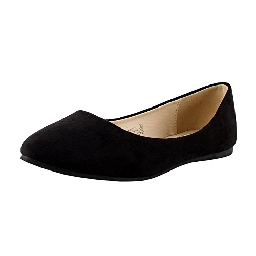 Bella Marie Angie-53 Women's Classic Pointy Toe Ballet Slip On Suede Flats, New Black 7.5