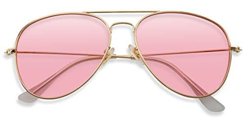 Rose Tinted Lens - Classic Aviator Style Metal Frame Sunglasses