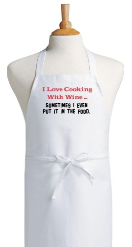 I Love Cooking With Wine Funny Chef Aprons For The Kitchen
