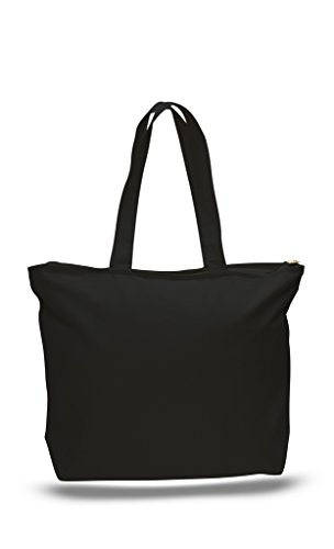 Pack of 2 Heavy Duty Canvas Tote Bags with Zipper Top and Zipper Inside Pockets Black Zipper Tote