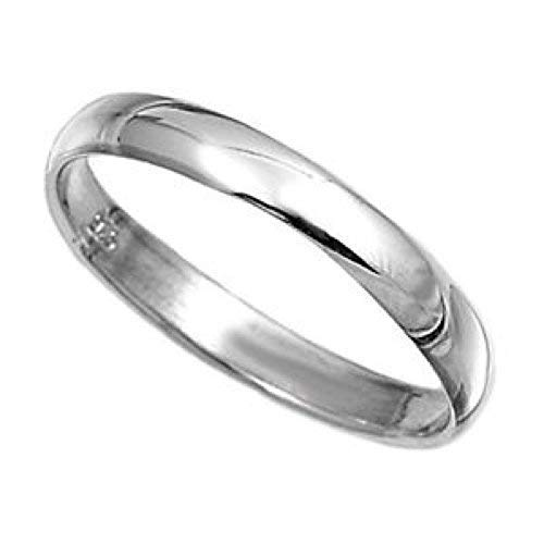 Z Wedding Ring 3mm Court Wedding Band Sterling Silver Platinum Plated size J