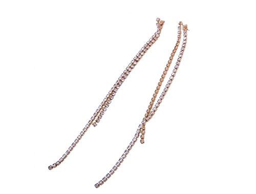 Long Creative Double Boucles Design D'oreilles Ligne D'oreilles Chaîne Femmes Mode Gold Couche cm Boucles OL 15 Super Griffe Diamant pwtnBzxI