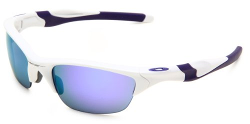 Oakley Men's Non-Polarized Half Jacket 2.0 Oval Sunglasses,Pearl Frame/Violet Iridium Lens, 62 - Sunglasses Oakley White