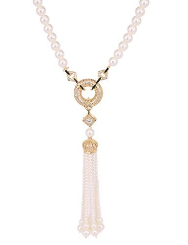 (Graceful Joy Long Sweater Chain Pearl Strand Necklaces Tassel Circle and Diamond Pendant Necklace with CZ Statement Necklace (Gold))