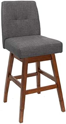 Adjustable Upholstered Gray and Brown Bar Stool 2-Pack