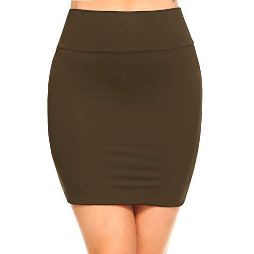 - Fashionazzle Women's Casual Stretchy Bodycon Pencil Mini Skirt (Large, KS06-D.Olive/Spandex)