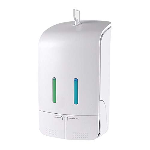 Soap Dispensers Creative Wall-Mounted Punch-Free Soap Dispensers Household Plastic Double Cup Shampoo Shower Gel Lotion Soap Dispensers 700ML Countertop Soap Dispensers