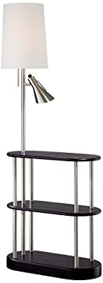 Triple Shelf Brushed Steel Espresso Floor Lamp