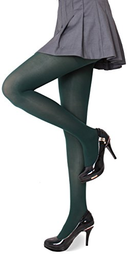 CozyWow Women's Solid Color Soft Semi Opaque Footed Tights Pantyhose Olive Drab ()
