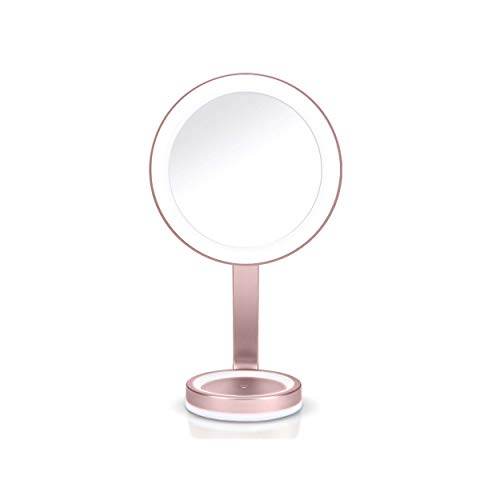 BaByliss 9450E Espejo de Maquillaje Luminoso con Aumento x10 Imantado, Iluminación LED, 3 Luces de Ambiente, 2 Luces Nocturnas, Ultra Fino, Diseño Minimalista, Cromado