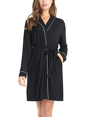 Amorbella Womens Soft Bamboo Bathrobe Loungewear Robe with Pockets(Black,Medium)