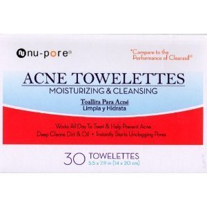Nu-pore Acne Towelettes Moisturizing & Cleansing 30 Count in Each BOX (2 Pack