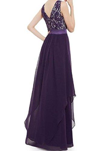 Purple Length Full Backless Fit Lace Dress Coolred Highwaist Women's Custom TWqffzwp