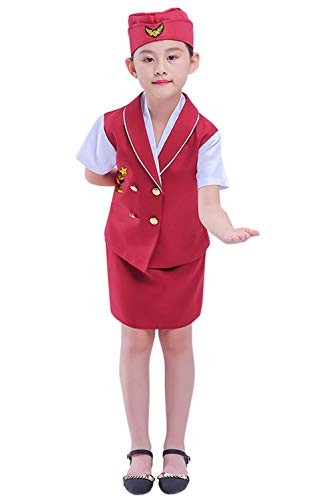 Kids Pilot Costume Flight Attendant Cosplay Dress Up Outfit Red ()