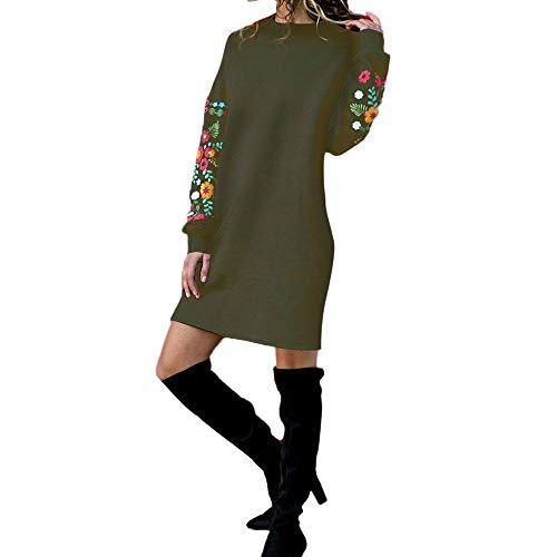HYIRI ✈Autumn Winter Dress,Women Casual Floral Embroidery Sweatshirt -