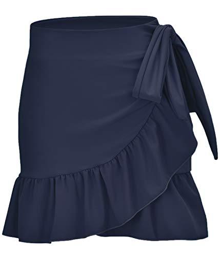 ChinFun Women's Ruffle Sarongs Beach Wrap Swimwear Bikini Tankini Cover Up Swim Skirts Swimdress Solid Navy