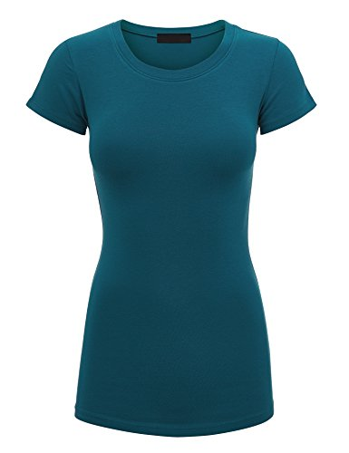 Made By Johnny WT1548 Womens Basic Fitted Short Sleeve Round Neck T Shirt M Teal