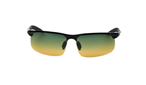 Men's Drivers Day Night Vision Glasses anti-glare UV400 Polarized Sunglasses Goggles (Black F Green Lens, 62 MM)