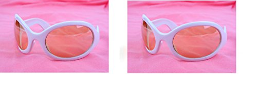 Pop Fashionwear Unisex Color Bug Eye Sunglasses Retro Rave Shades P501 (2 Pcs White-Orange Lens & White-Orange - Bug Mens Sunglasses Eye