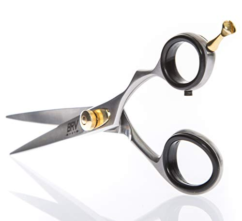 Barber Scissors - Facial Hair Scissors for Men | Mustache & Beard Trimming Scissors | 5.5 inches | 100% Stainless Steel l Sharp & Precise Grooming | Razor Edge Barber Scissor | Professional Cutting & Styling Scissors