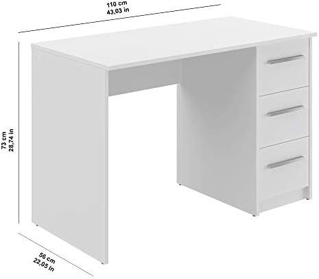 Marca Amazon -Movian Idro Modern - Escritorio con 3 cajones, 56 x 110 x 73,5 cm (blanco) 24