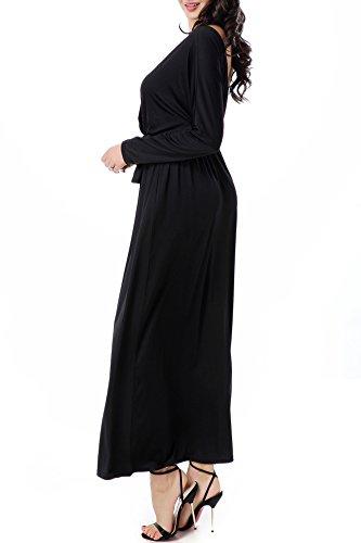 YACUN Frauen Langarm Wickeloptik Maxi Kleid Plus Size