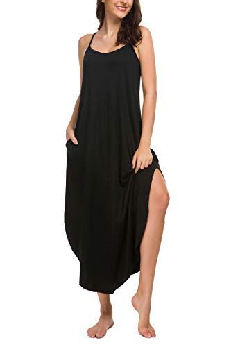 - AVIIER Womens Sleeveless Long Nightgown Summer Slip Night Dress Cotton Sleepshirt Chemise(Black, Large) ...