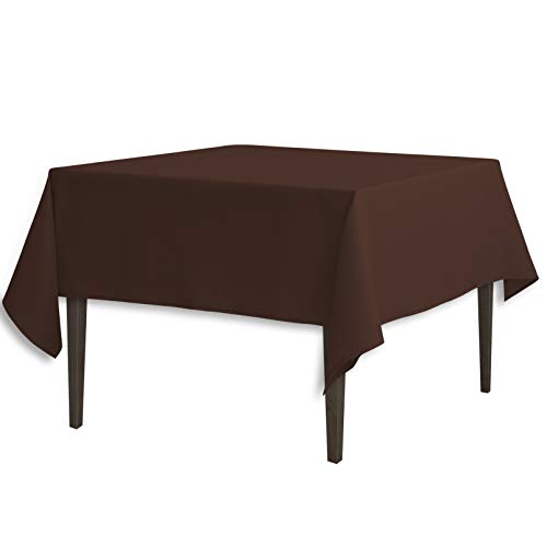 LinenTablecloth 70-Inch Square Polyester Tablecloth Chocolat