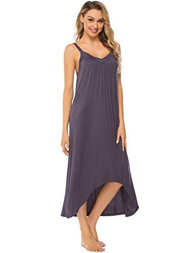 FINWANLO Womens Sleeveless Long Nightgown Cotton V Neck Sleepwear Full Slip Night Dress Chemise Dark Grey