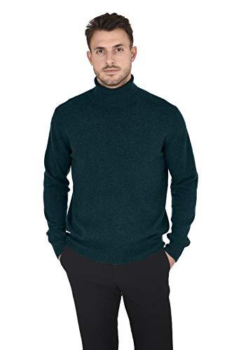 (Cashmeren Men's Wool Cashmere Classic Knit Soft Long Sleeve Turtleneck Pullover Sweater (Moss,)