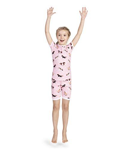 Hatley Girls' Big Organic Cotton Short Sleeve Printed Pajama Sets, Frolicking Horses 7 Years
