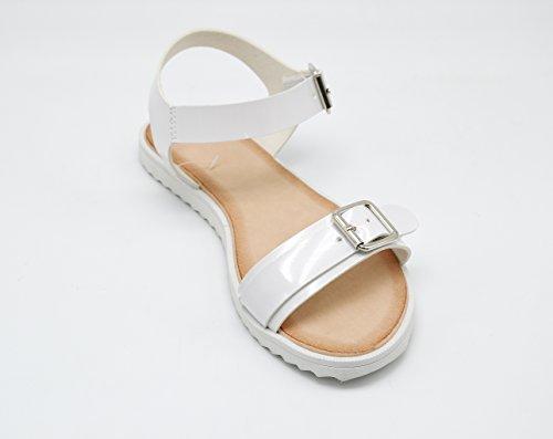Boucles Sandales Et Femme 2 Nu Avec Blanche Vernis Pieds Oh My Blanc Plates Semelle Mode Shop SHS11 vtqwZP