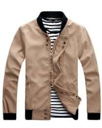 Stand Collar Pocket Buttons Men Jacket