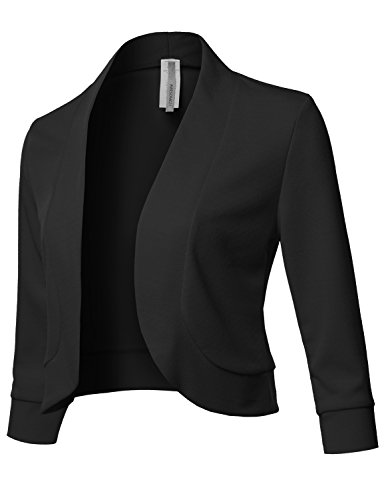 Solid 3/4 Sleeves Open Front Bolero Jacket Shrug - Made in USA Black M