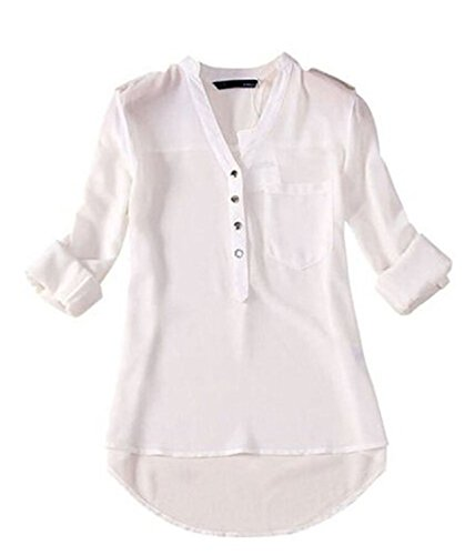Tobyak Women's Long-sleeve Print Chiffon Fashion Slim Blouses Shirt White01X-Large popular. (70s Dress Up Ideas)