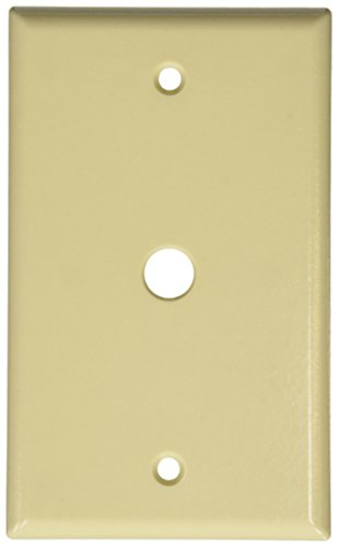 Leviton 86013 001-000 Standard Size Telephone/Cable Wall Plate, 1 Gang, 4-1/2 in L X 2-3/4 in W 0.22 in T, Pack of 1, Ivory