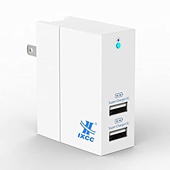 iXCC 20W Dual USB Ports Wall Charger High Speed Charging Travel Charger for iPhone 7 / 6s / Plus, iPad, Samsung Galaxy, LG, Nexus and More - White